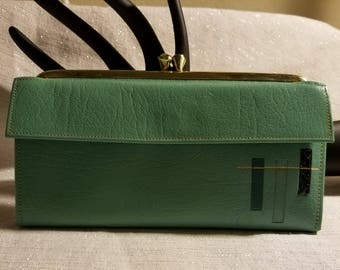Vintage Princess Gardner Ladies Turquois Leather Wallet New Old Stock Gorgeous Quality Wallet Ladies Checkbook Wallet