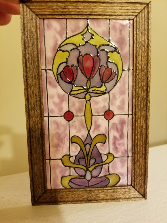 Floral Dollhouse Miniature Single Door Stained Glass Film