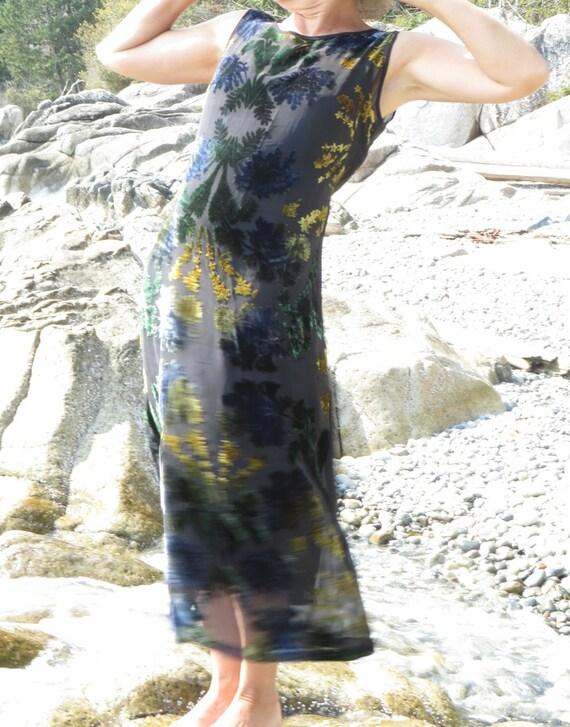 Devore Vintage Dress, Silk Vintage Dress, Gold Gre