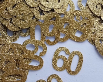 60th Birthday Confetti 50 Pieces Decorations Custom Age Number Party Supplies Decor