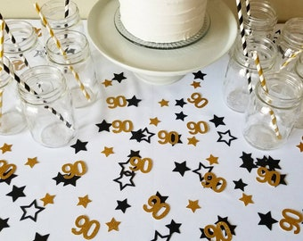 90th Birthday Confetti 200 Pieces Decorations Custom Personalized Party