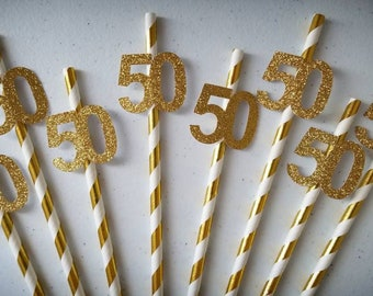 50th Birthday Decorations Party Straws Gold Decor