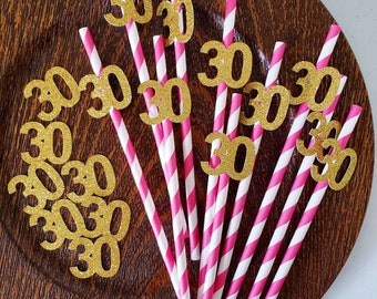 30th Birthday Decorations For Her Party Supplies Pink And Gold Paper Straws