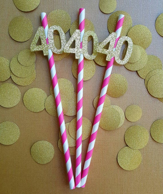 40th Birthday Decorations Paper Party Straws Pink And Gold Anniversary Ideas