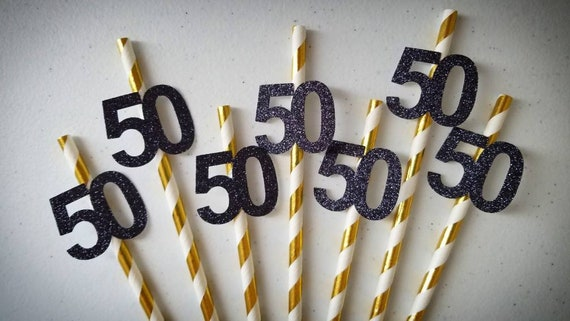 50th Birthday Decorations Party Straws