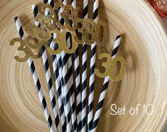 Paper Straws / Party Straws / 30th Birthday / 30th Birthday Decorations / Black And Gold Birthday / Black And Gold Decorations / 30th Party