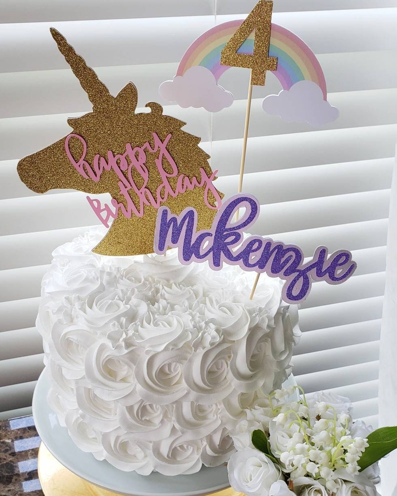 Unicorn Cake Topper First Birthday Party Decorations