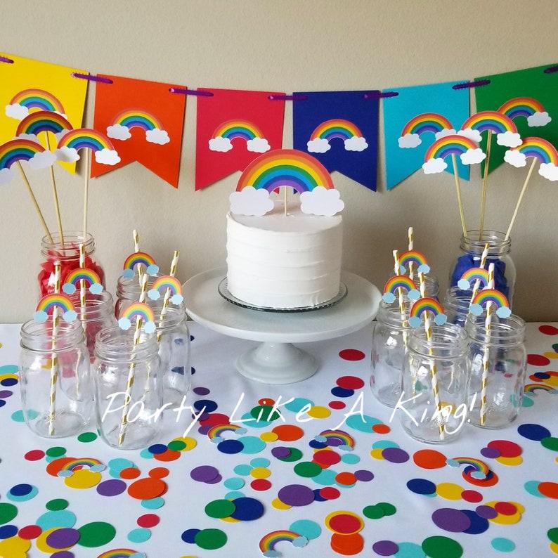 Rainbow Party Decorations Rainbow Cake Topper Rainbow Baby Etsy