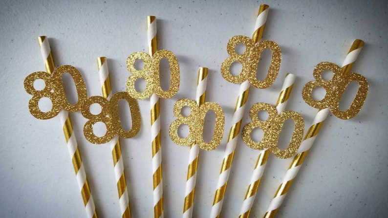 80th Birthday Decorations Party Straws