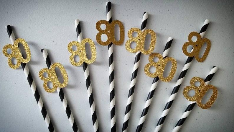 80th Birthday Decorations Party Straws