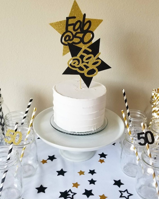 50 And Fabulous 50th Cake Topper Birthday Party Decorations Black