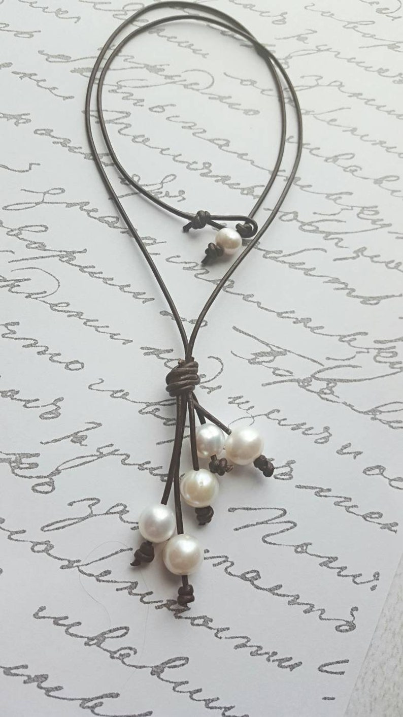 5001b8f943de5 Leather pearl waterfall necklace - Anniversry