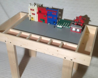 Junior Ultimate Building Block Play Table with Large Attached Bins.  Over 300 satisfied customers  (happy kids)!