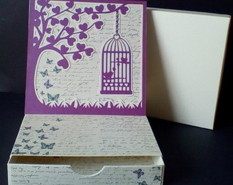 Birdcage Topper Easel Card with box.......... SVG digital download.......Commercial Use Allowed