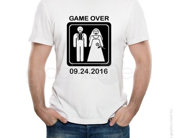 069f8fb9 Custom T-shirt GAME OVER for men - Getting Married with Personalized date  Tee - Funny wedding shirt