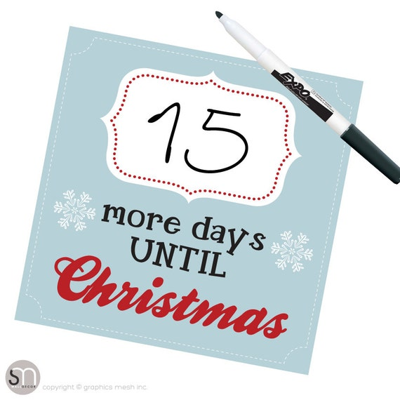 How Many More Days Until Christmas.Christmas Countdown More Days Until Christmas In Blue Dry Erase Wall Decals By Graphics Mesh