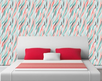 LOOSE ABSTRACT WAVES - Self adhesive removable wallpaper by GraphicsMesh