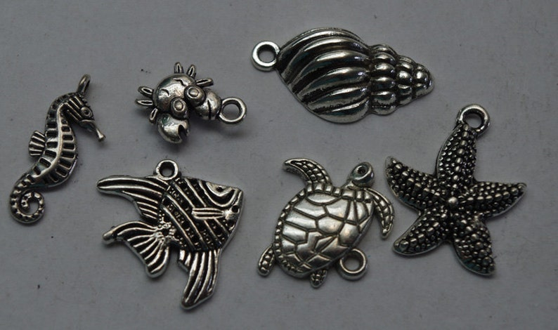 jewelry supplies beading destash OCEAN CHARMS silver toned alloy sea charms jane bari beads set of 6 jewellery supplies