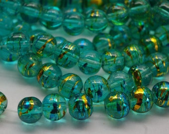 30 DRAWBENCH CRACKLE GLASS beads, 8mm, beading supplies, destash, glass, affordable, drawbench, turquoise, gold, blue, jane bari beads