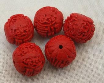 CINNABAR BEAD, (2) 13mm round, oval, tribal bead, ethnic bead, Chinese lacquer bead, beading supplies, red, jane bari beads, destash beads