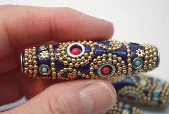 affordably priced INDONESIA BEAD beading supplies silver bead clay bead tribal beads ethnic bead handmade tubular destash beads