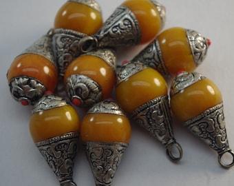 TIBETAN COPAL PENDANT, ethnic pendant for jewelry making, tribal jewelry supplies, Australian destash bead shop