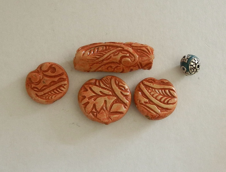 jane bari beads on Etsy copper polymer clay bead set POLYMER CLAY BEAD set hand made polymer clay beads