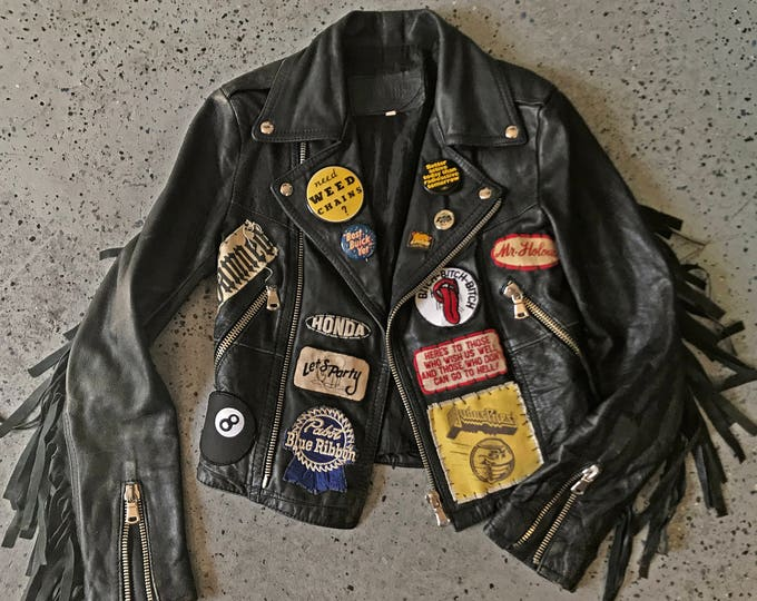 Featured listing image: Search & Destroy patched vintage leather jacket