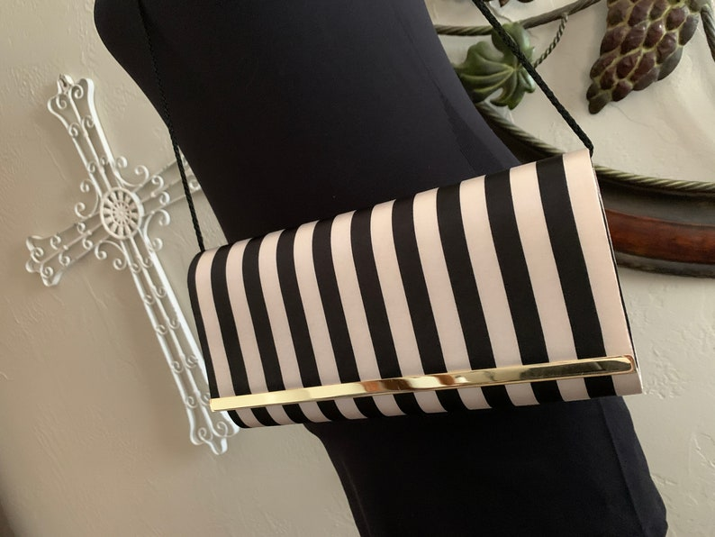 KATE LANDRY Bold Black /& Ivory Structured Clutch \u2013 Never Carried
