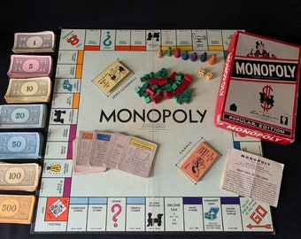 1954 MONOPOLY GAME Popular Edition BY Parker Brothers with Wooden Tokens, Box, and Game Board