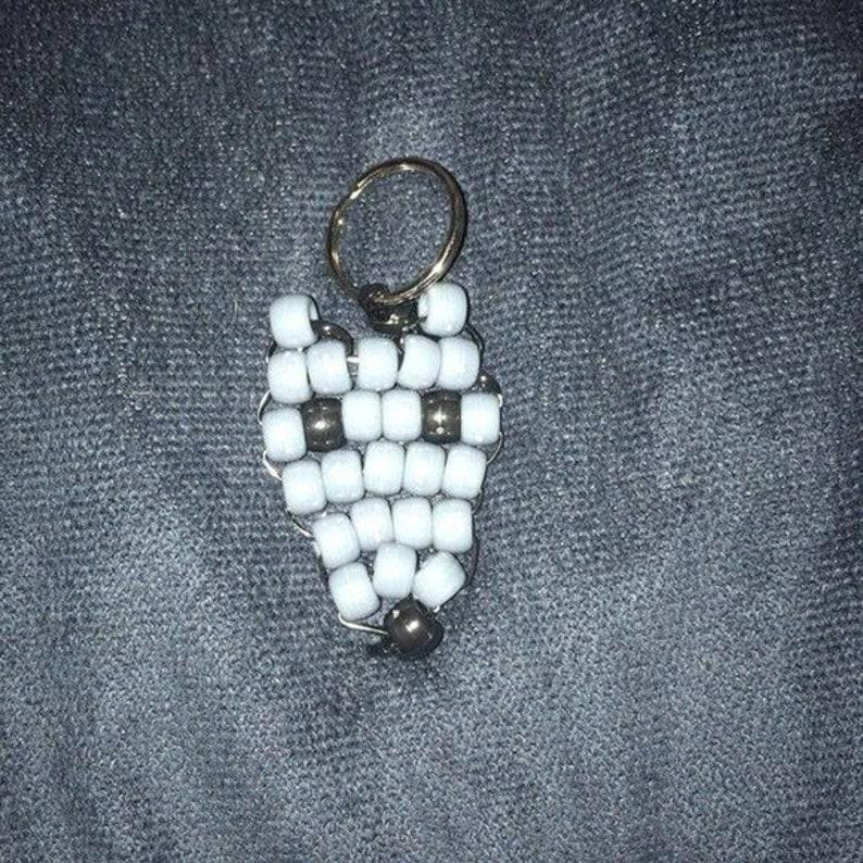 Hand-Crafted Wolf Head Pony Bead Keychain