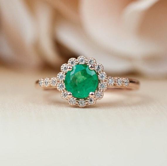 mejor sitio web 675dc 6d176 Anillo Esmeralda Rose Gold, Halo anillo de compromiso, anillo de compromiso  oro de Rose, Milgrain anillo de compromiso