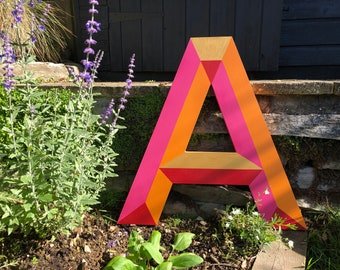 MADE TO ORDER. Extra Large Marquee Style 'Festival' Wooden Initial Letters. Handmade by Hello Sunshine Designs. 50cm tall. Hand painted