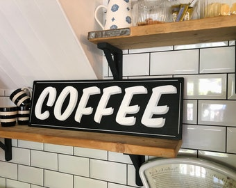 READY MADE Large Hand Painted 'Coffee' Sign in shadow lettering. Coffee shop. Monochrome. Hipster. Artisan. Kitchen decor. Gift for man