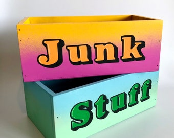 Hand Painted Wooden JUNK Box. Kids Bedroom, Teenage Decor. Typography, Spray paint Art