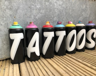 """Graffiti Spray Can Art Sign """"TATTOOS"""" Original Tattoo Shop Sign Display. Hand painted Lettering Typography"""