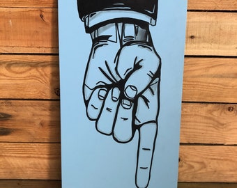 READY MADE Large Hand Painted 'Point the finger' illustration Sign. Coffee shop. Monochrome. Hipster. Artisan. Kitchen decor. Gift for man