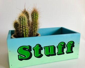 Hand Painted Wooden STUFF Box. Kids Bedroom, Teenage Decor. Typography, Spray paint Art