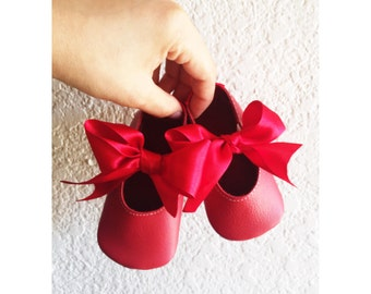 Baby girl shoes ballerina shoes toddler girl shoes infant shoes lace up shoes wedding shoes flower girl shoes -Ballet bow flats Red