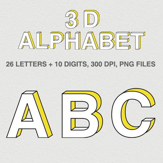 DIGITAL ALPHABET NUMBERS 3D Alphabet Letters Instant