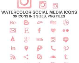 Watercolor Social Media Icons Set of 30 pink icons in 3 sizes - PNG - Instant Download