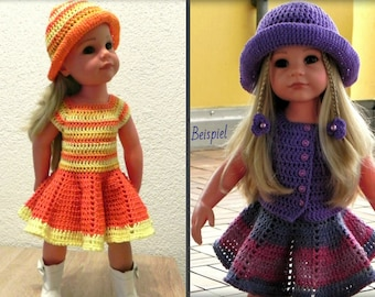 "Crochet Pattern dolloutfit for 18-inch dolls crocheted dress PDF pattern ""Dear Hannah"" crochet doll clothes"