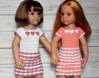 Häkelanleitung für ein Rüschen Kleid für Puppen ca. 45-50 cm Puppenkleidung häkeln, häkeln für Puppen, Puppenkleider selber machen