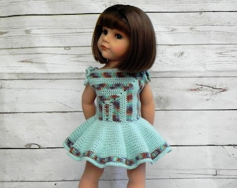 "Crochet pattern doll dress ""Diagonal"""