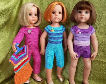 """Crochet Pattern Doll Clothes Jumpsuit for Doll 18"""" FDF pattern"""