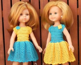 Crochet pattern for doll dress, crochet 13-inch doll dress, crochet doll clothing, doll clothes