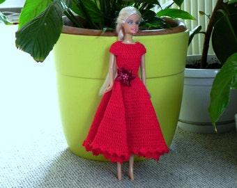 Crochet dress for doll, crochet pattern for 12-inch doll romantic dress