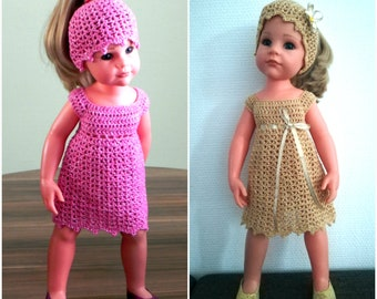 """Crochet pattern doll outfit """"Glamour"""" for 18-inch dolls, pattern 18-inch doll clothing, crochet dresses patterns for 18 inch dolls"""