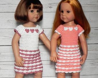 "Doll Ruffles Dress for 18"" or 45-50 cm dolls Crochet Pattern Doll Clothing, doll cloths"