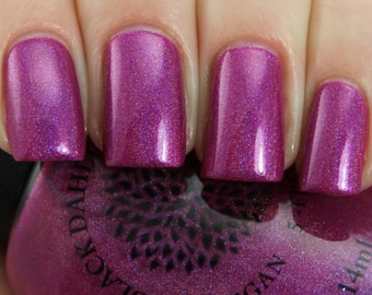 Shimmering Magenta Holo Nail Polish Black Dahlia Lacquer - Velvet Magnolia